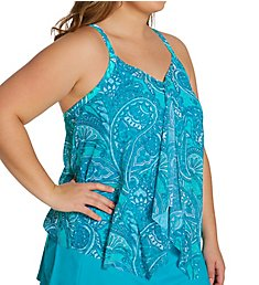 Beach House Woman Rise and Shine Kerry Mesh Layer Tankini Swim Top HW24254