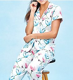 BedHead Pajamas Poppy Fields Short Sleeve Cropped Pant PJ Set 2721202