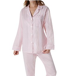 BedHead Pajamas Pink Almost Gingham Long Sleeve PJ Set 2921204