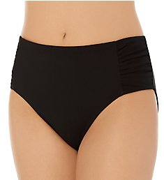 Christina Solid High Waist Shirred Brief Swim Bottom ZZ4149