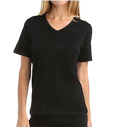 Cuddl Duds Softwear Lace Edge Short Sleeve V-Neck 8317535