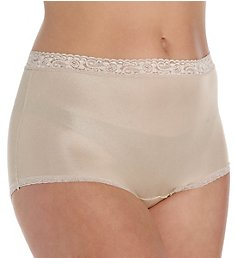 Cuddl Duds Lorraine Nylon Full Brief with Lace Trim Panty LR102