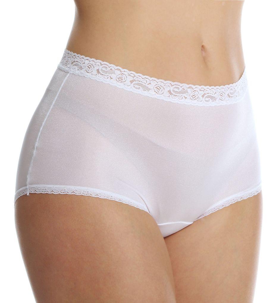 Cuddl Duds Lorraine Nylon Full Brief with Lace Trim Panty LR102