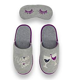 Dearfoams Wine Time Memory Foam Slipper & Eye Set 30572W