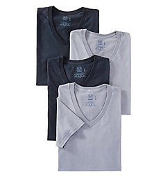 Fruit Of The Loom Stay Tucked Cotton V Neck T-Shirt - 4 Pack 4P26V01