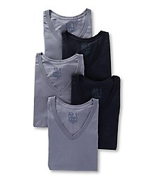 Fruit Of The Loom Stay Tucked Cotton V Neck T-Shirts - 5 Pack 5P26V02