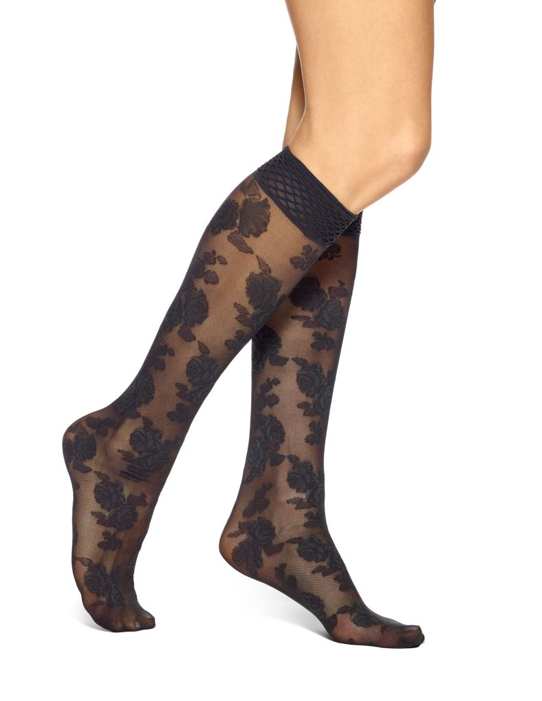 Hue Rose Mesh Knee High 17775