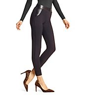Hue Leatherette Trim Cropped Cuffed Leggings 18038