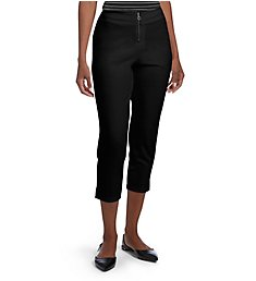 Hue Crepe Zippered High Waist Capri 18816