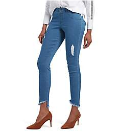 Hue Distressed Angled Hem Denim Skimmer 19806