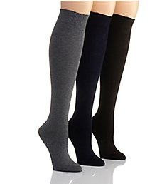 Hue Flat Knit Knee High Sock - 3 Pack 21135