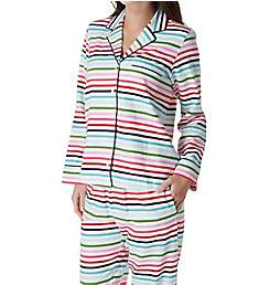 Kate Spade New York Holiday Stripe Brushed Twill Long PJ Set 91650F2