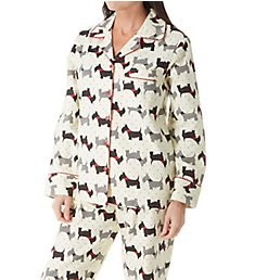 KayAnna Printed Scottie Dog Flannel Novelty Pajama Set F15175D