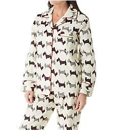 KayAnna Printed Scottie Dog Flannel Novelty Pajama Set F15175D
