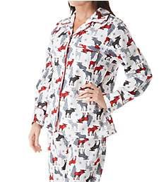 KayAnna Printed White Moose Flannel Novelty Pajama Set F15175W