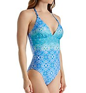La Blanca Tile We Meet Again Strappy Tummy Toner Swimsuit LB6JF19