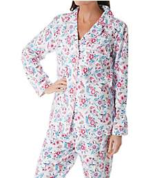 La Cera 100% Cotton Long Sleeve Flannel PJ Set 13211-2