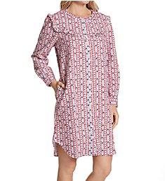 Lanz of Salzburg Short Button Front Cotton Flannel Nightshirt 5516847