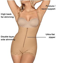 Leonisa PowerSlim Open Bust Boyshort Body Shaper 018678N