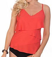 MagicSuit Solids Chloe Soft Cup Ruffle Tankini Swim Top 6000134