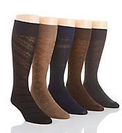 Perry Ellis Premium Cotton Blend Grid Dress Socks - 5 Pack 439100