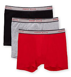 Perry Ellis Cotton 1X1 Rib Boxer Briefs - 3 Pack 536125