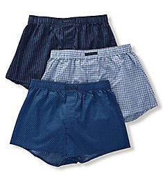 Perry Ellis 100% Pure Cotton Woven Boxers - 3 Pack 879611