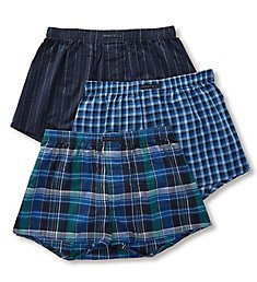 Perry Ellis 100% Pure Cotton Woven Boxers - 3 Pack 879616