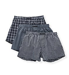 Perry Ellis 100% Pure Cotton Woven Boxers - 3 Pack 879637