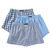 Perry Ellis 100% Cotton Solid & Plaid Woven Boxers - 3 Pack 879774