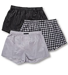 Perry Ellis 100% Cotton Woven Boxers - 3 Pack 879778