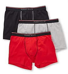 Perry Ellis Cotton Stretch Boxer Briefs - 3 Pack 960591