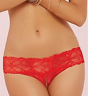 Seven 'til Midnight Stretch Lace Split Crotch Thong 10648P