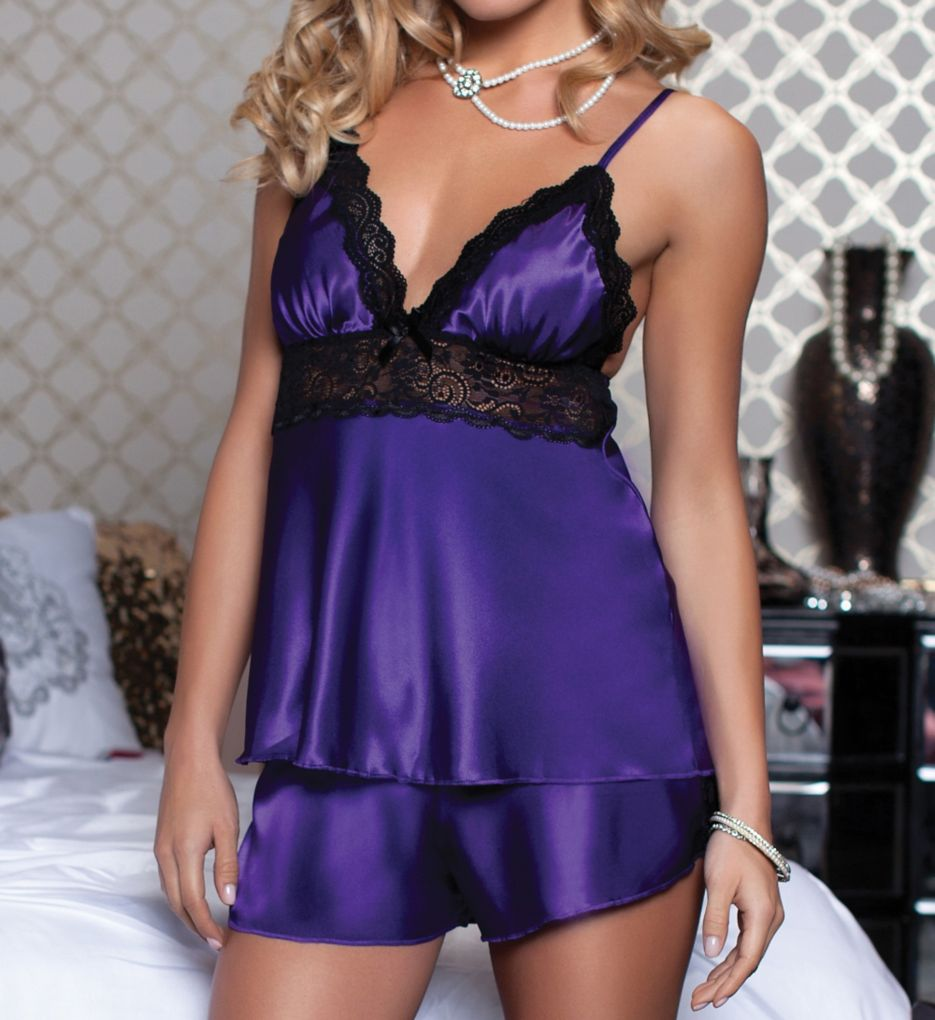Seven 'til Midnight Enchanting Satin Two Piece Camisole and Short Set STM9720