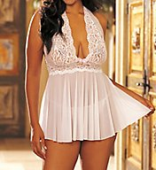 Shirley of Hollywood Stretch Lace Halter Babydoll With Matching Thong 96164Q