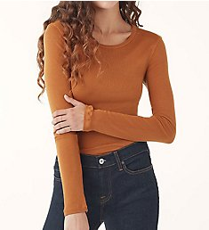 Splendid 1x1 Classic Rib Long Sleeve Crew Neck Top RF8K540