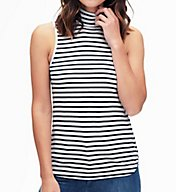 Splendid 1X1 Stripe Turtleneck Sleeveless Tee ST10832