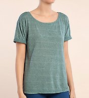 Splendid Tri Blend Jersey Open Neck Rolled Short Sleeve Tee ST10881