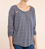 Splendid Tri Blend Jersey Cut Out Long Sleeve Tee ST10893