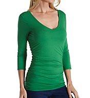 Three Dots Light Weight Viscose 3/4 Sleeve Shirred Waist Tee LD485